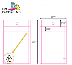 Example of symbol on custom printed bag setup.